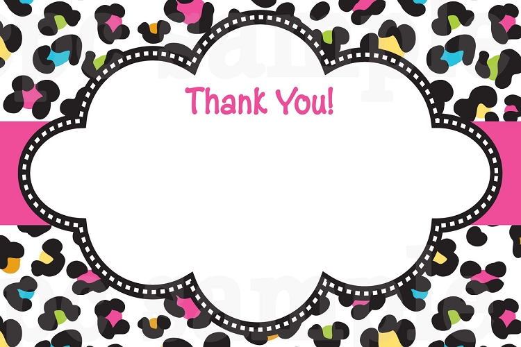 neon leopard print thank you cards