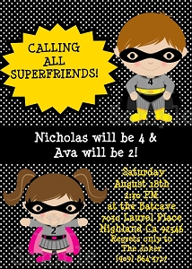 Twins or Siblings Batgirl and Batman Superhero Birthday Invitations - Printable or Printed
