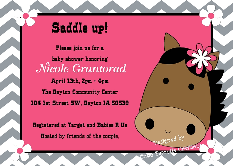 chevron cowgirl baby shower invitations