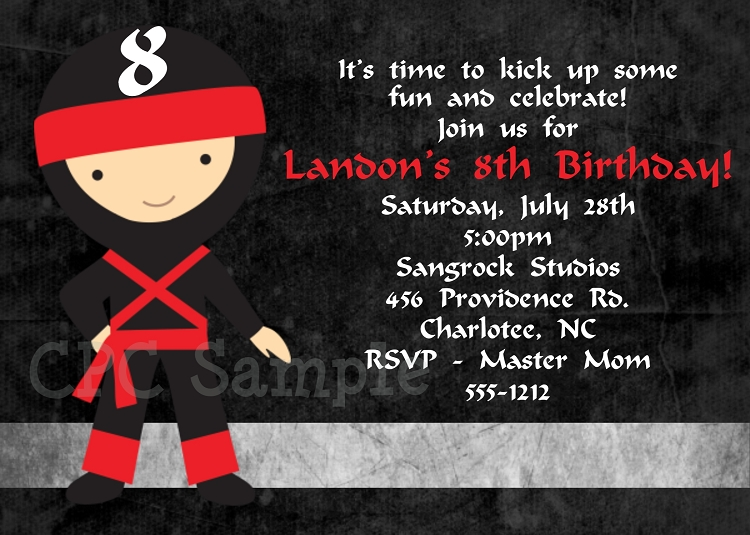 Little Ninja Birthday Party Invitations