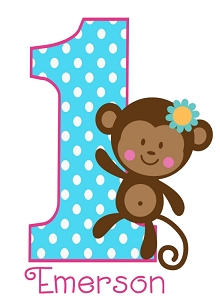 Personalized Monkey Birthday TShirt or Bodysuit (ANY Name, ANY Number)
