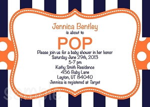 Navy Orange About to POP Baby Shower Invitations