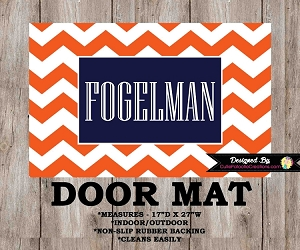Monogrammed Navy Blue & Orange Chevron Door Mat