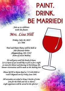 Wine and Painting Party Bachelorette Party Invitations - Bridal Shower Invitation