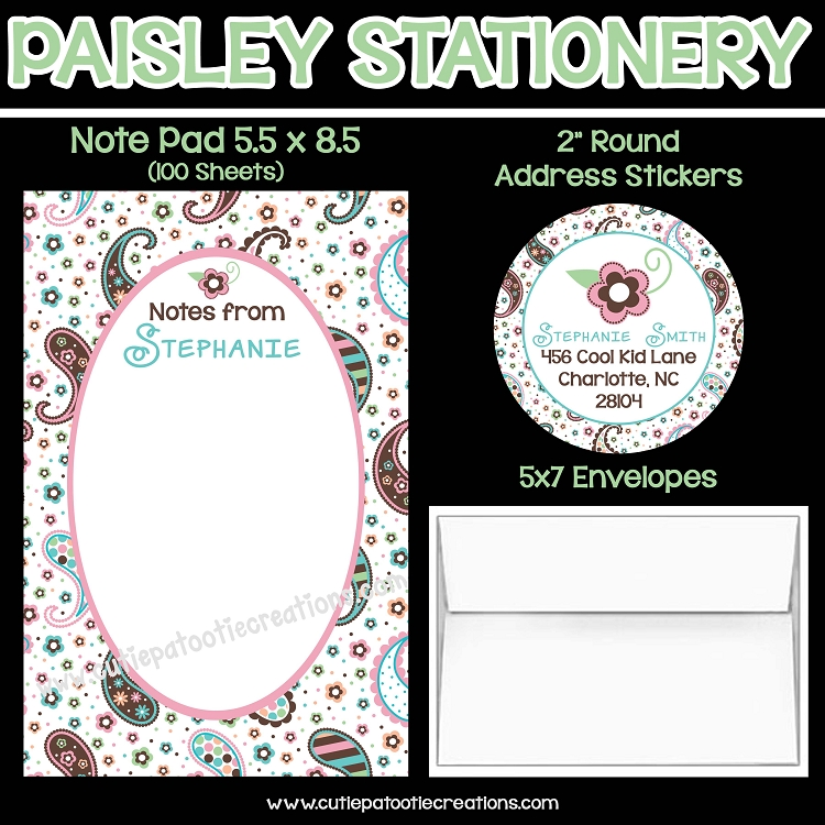 Paisley Print Personalized Custom Notepads Stationery