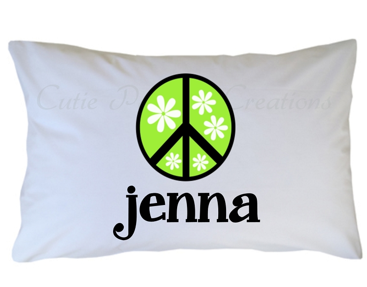 Personalized Peace Sign Pillow Case For Kids Adults And Toddler