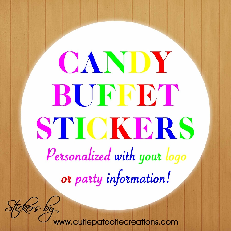Personalized Candy Buffet Stickers with your Party Logo or ...