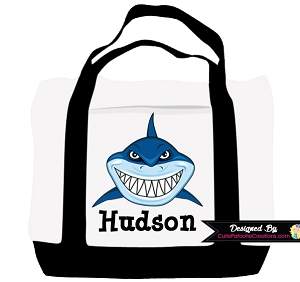 Personalized Shark Tote Bag - Monogram with Name
