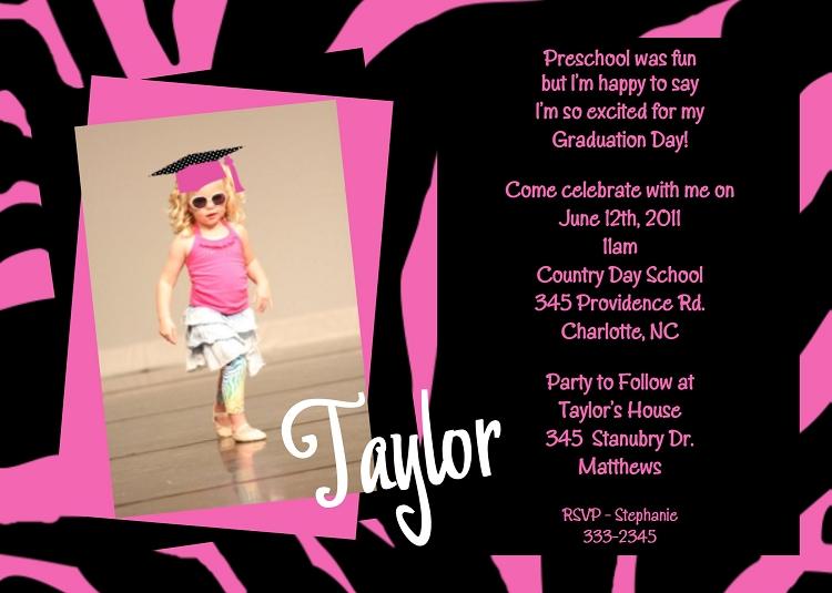 Zebra Print Graduation Invitations – Preschool Graduation Invitations