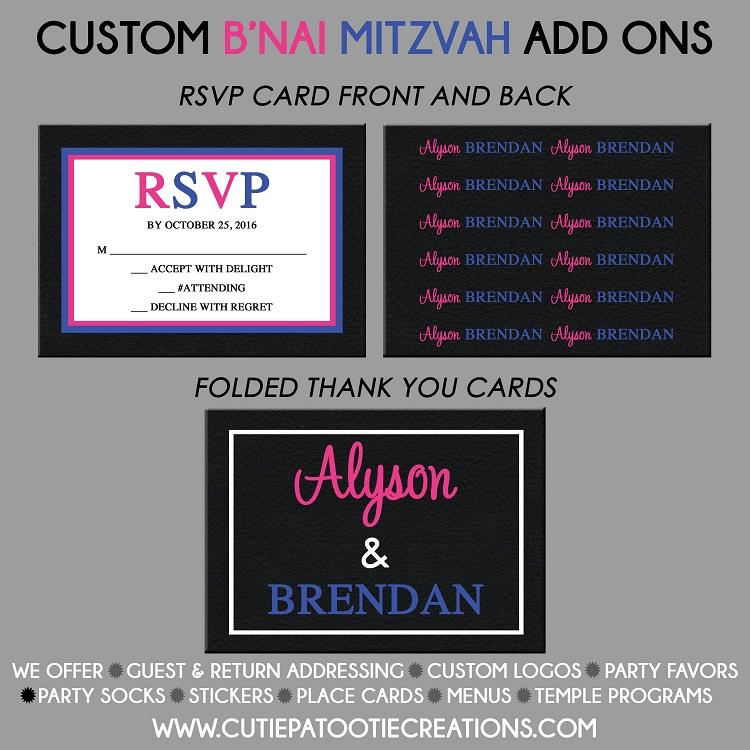 pink and blue b u0026 39 nai mitzvah invitation boy girl