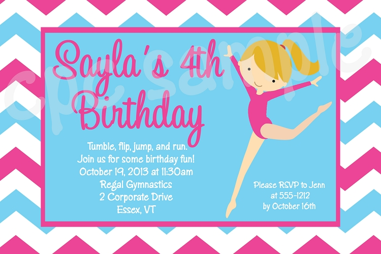 chevron gymnastics birthday invitations
