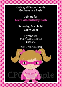 Pink Batgirl Birthday Invitations