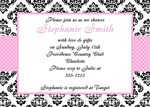 Pink Damask Pattern Bridal Shower Invitation - Wedding Invitations