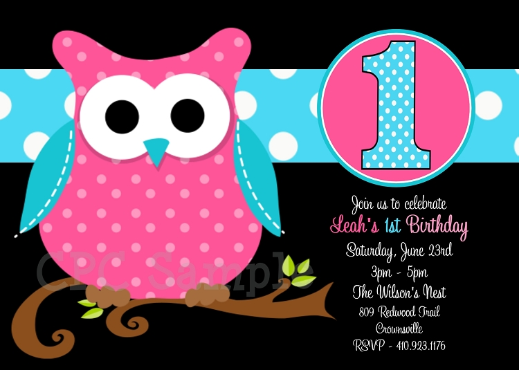 owl birthday party invitation  pink  black  turquoise, Birthday invitations