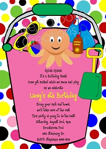 Beach Bucket Pool Party Invitations - Printable or Printed