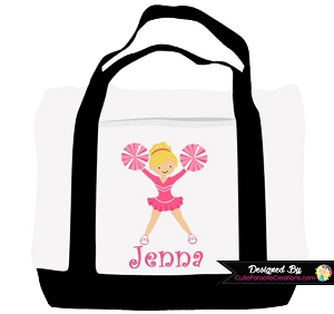 Monogrammed Cheerleader Cheer Tote Bag - Personalized with Name