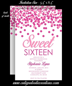 Pink Confetti Sweet 16 Sixteen Birthday Invitation - Quinceanera Invitations