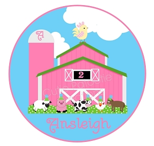 Personalized Pink Farm Birthday T-Shirt or Bodysuit
