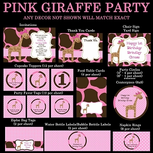 Pink Jungle Giraffe Invitations, Decorations, Party Supplies