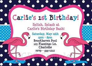Pink Flamingo on Navy Background | Pool Party Invitations - Printable or Printed