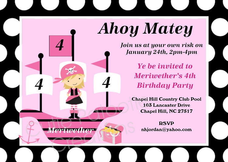 Browse our large collection of pirates invitations invitations by girl pirate birthday invitation printable or printed party invite filmwisefo Images