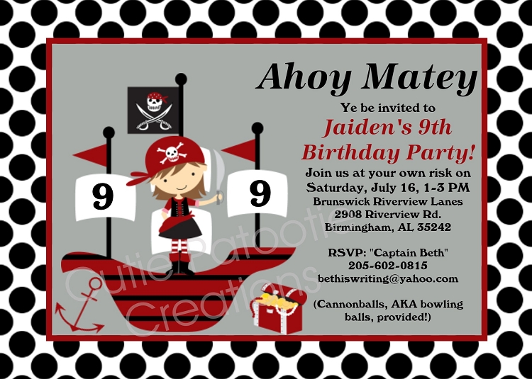 Girl Pirate Birthday Invitation Printable or Printed Party Invite – Pirate Birthday Invitations
