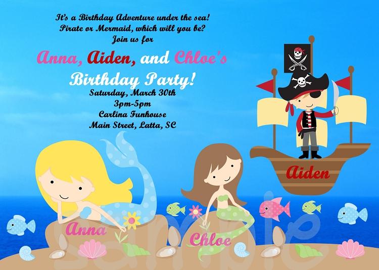 Pirate Mermaid Birthday Invitation Printable or Printed Party Invite – Printed Party Invitations