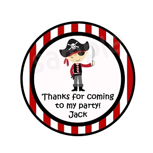 Personalized Pirate Party Stickers, Red and Black
