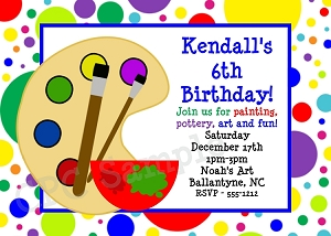 Arts and Crafts themed party invitations for birthdays and special