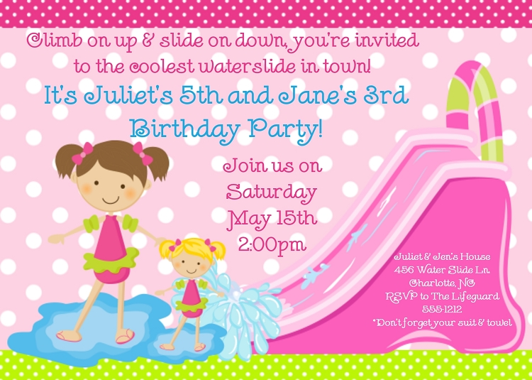 Girl Twins or Siblings Pool Party Invitations Printable or Printed – Party Invitations for Girls