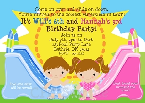 Twins or Siblings Fun in the Sun | Pool Party Invitations - Printable or Printed