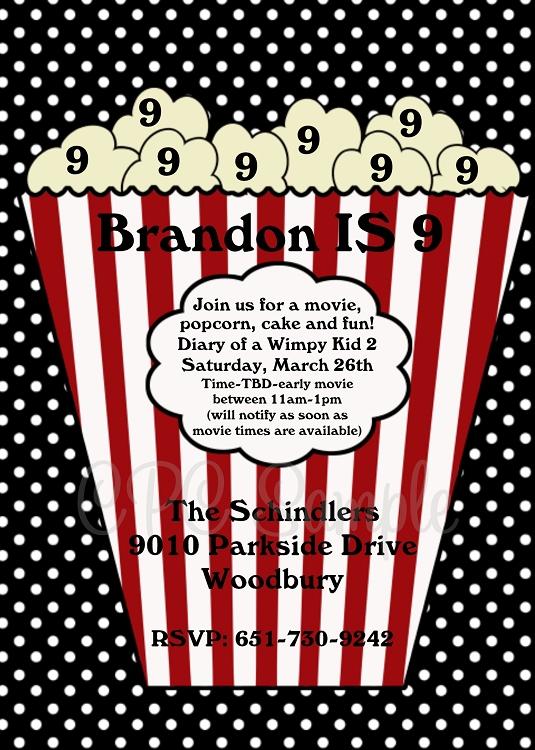 Popcorn bucket movie invitations printable or printed filmwisefo