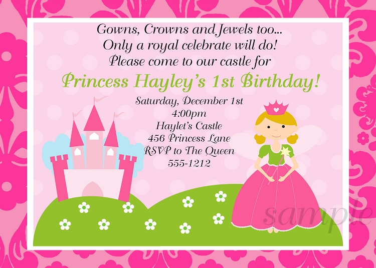 pink princess party invitations - printable or printed, Party invitations