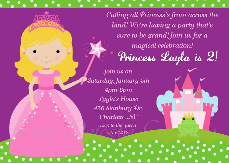 Royal Princess Birthday Party Invitations Printable or Printed