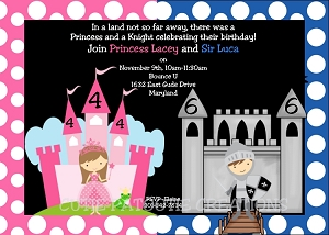 Joint birthday party invitations for boy girls twins siblings princess and knight party invitations printable or printed filmwisefo