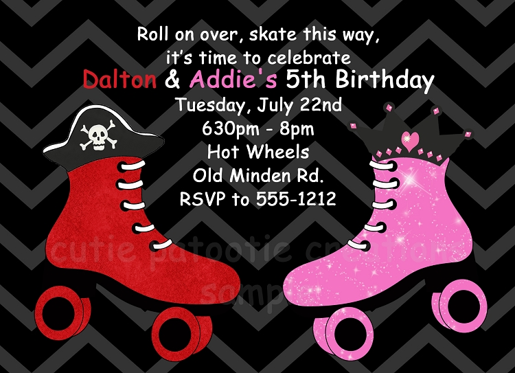 Roller Skating Party Invitations for Boy and Girl Printable or Printed