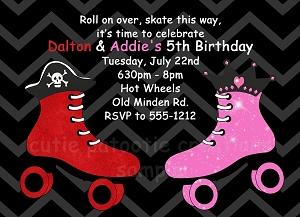 Free Roller Skating Birthday Party Invitations ~ Joint birthday party invitations for boy girls twins siblings