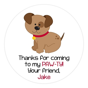 Puppy Dog Gift Stickers, Address Labels, Party Favor Bag Stickers