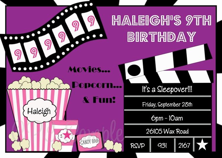 movie birthday invitations