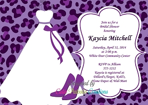 Purple Leopard Animal Print Bachelorette Party Invitation - Bridal Shower Invitations