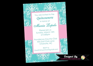 Tiffany Blue Quinceanera Invitations - 15th Birthday Celebration
