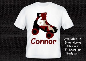 Red Camouflage Roller Skating T-Shirt Personalized