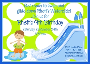 Water Slide Pool Party Invitations - Lime Green and Blue