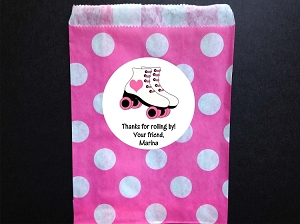 Roller Skating Birthday Party Favor Bags and Personalized Stickers