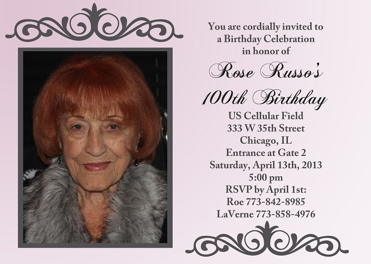 100th birthday birthday party invitations - printable or printed, Birthday invitations