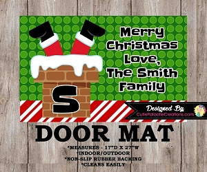Personalized Christmas Santa Feet in Chimney Door Mat