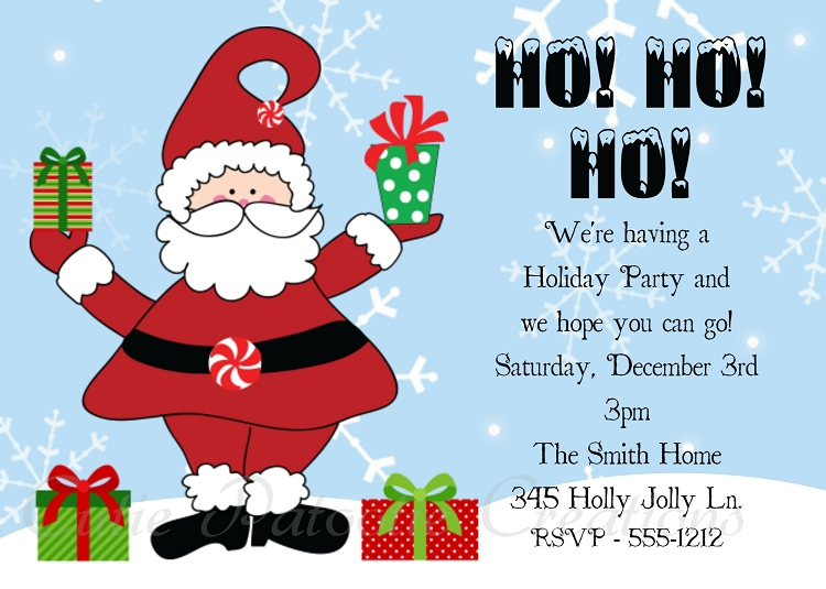 christmas party invitations by cutie patootie creations, Party invitations