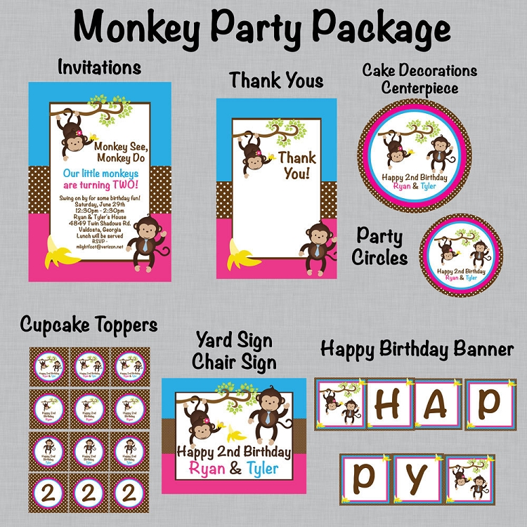 Girl mod monkey birthday party t shirt or onesie in pink and brown filmwisefo Gallery