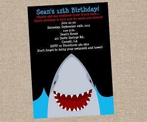 shark themed party invitations, party invitations