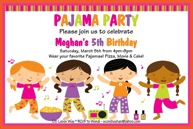 pajama party invitations | slumber party invitations - printable, Party invitations